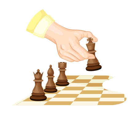 Hand Moving Piece on Chessboard Playing Chess or Strategy Board Game Vector Illustration