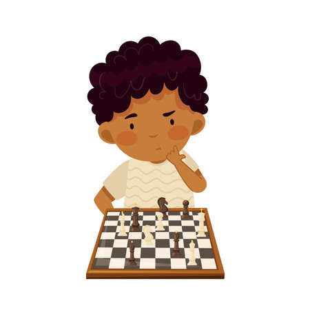 Smart Boy Character Playing Chess on Checkered Chessboard Vector Illustration