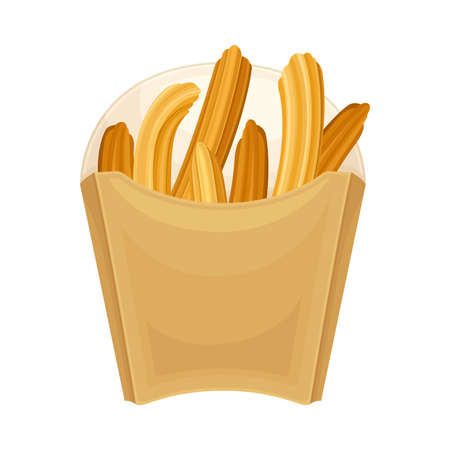 Carton or Cardboard Eco Package with Churro Dessert Inside Vector Illustration