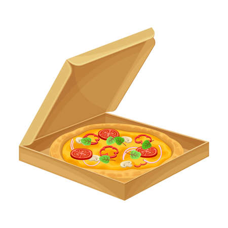 Square Carton or Cardboard Eco Package with Pizza Inside Vector Illustration