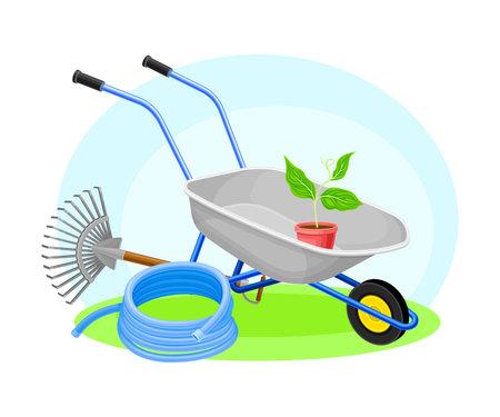 Garden Tools and Equipment with Wheelbarrow, Rake and Hose Vector Composition Ilustración de vector