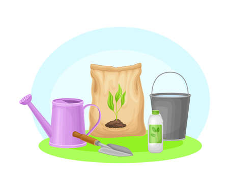 Garden Tools and Equipment with Watering Can, Bucket and Fertilizer Package Vector Composition