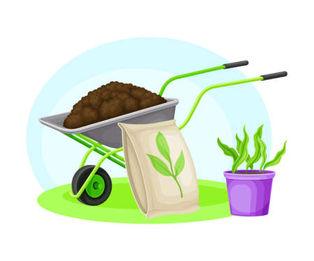 Garden Tools and Equipment with Wheelbarrow, Fertilizer Package and Plant in Flowerpot Vector Composition