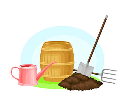 Garden Tools and Equipment with Watering Can and Spade or Shovel in Soil Vector Composition