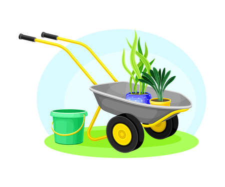 Garden Tools and Equipment with Wheelbarrow, Bucket and Plants in Flowerpot Vector Composition