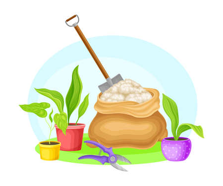 Garden Tools and Equipment with Spade, Pruning Shears and Seedling in Flowerpots Vector Composition Vectores