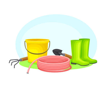 Garden Tools and Equipment with Spade, Rake and Hose Vector Composition