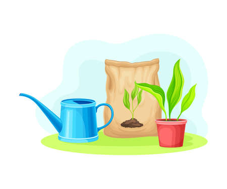 Garden Tools and Equipment with Watering Can and Fertilizer Package Vector Composition
