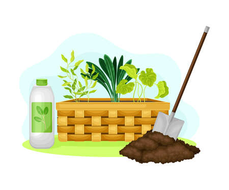 Garden Tools and Equipment with Spade for Soil Cultivation and Planting Vector Composition Ilustración de vector