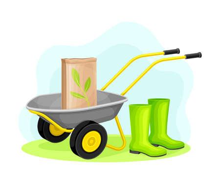 Garden Tools and Equipment with Wheelbarrow, Fertilizer and Rubber Boots Vector Composition