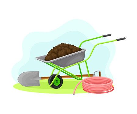 Garden Tools and Equipment with Wheelbarrow, Spade and Hose Vector Composition Ilustración de vector