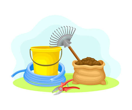 Garden Tools and Equipment with Bucket, Rake and Pruning Shears Vector Composition