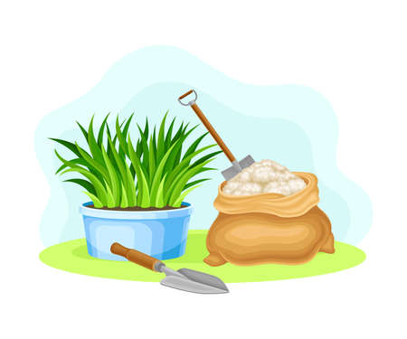 Iron Spade or Shovel in Fertilizer and Plant in Flowerpot as Garden Tools and Items Vector Composition