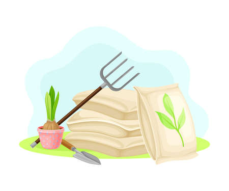 Garden Tools and Equipment with Iron Fork and Trowel Vector Composition