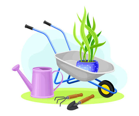 Wheelbarrow and Watering Can as Garden Tools and Equipment Vector Composition