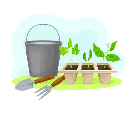 Bucket with Water and Trowel with Fork as Garden Tools and Equipment for Soil Cultivation and Planting Vector Composition Vectores