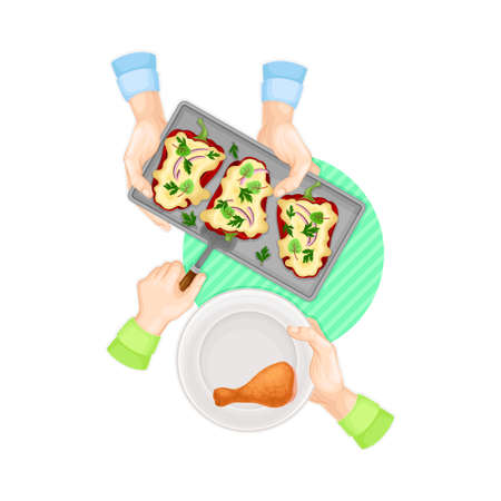 Hands Serving Stuffed Bell Pepper on Plate with Chicken Leg Above View Vector Illustration