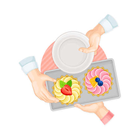 Hands Taking Tartlet with Whipped Cream and Berry on Plate Above View Vector Illustration
