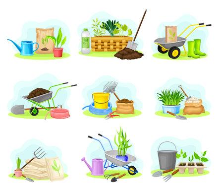 Garden Tools and Equipment with Wheelbarrow, Spade and Hose Vector Composition Set