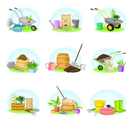 Garden Tools and Equipment with Wheelbarrow, Spade and Hose Vector Composition Set Ilustración de vector
