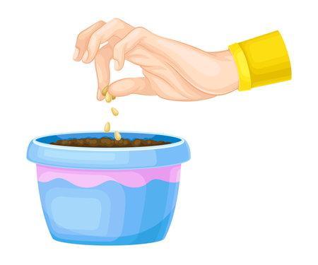 Hand Planting Seeds in Soil in Flower Pot Vector Illustration