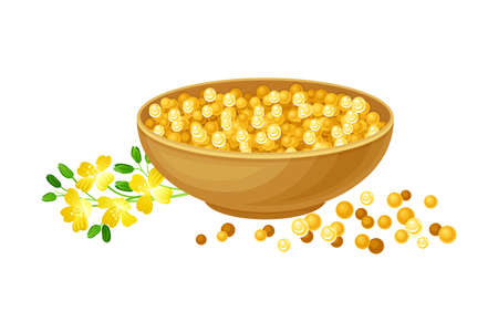 Mustard Seeds Piled in Bowl with Plant Specie Rested Nearby Vector Illustration