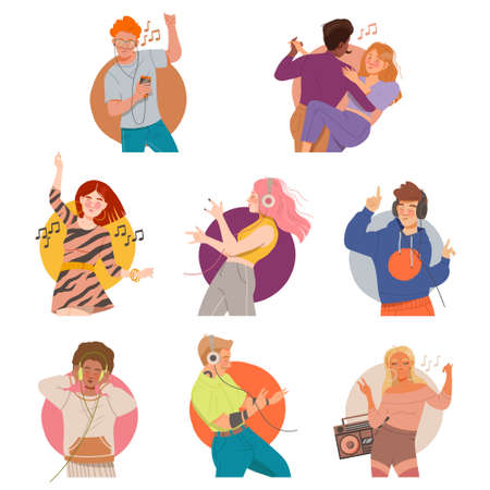 People Characters Listening to Music and Moving with Dancing Motion Vector Illustration Set