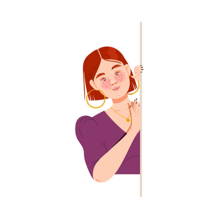 Freckled Woman Looking Out from Behind the Corner Vector Illustration