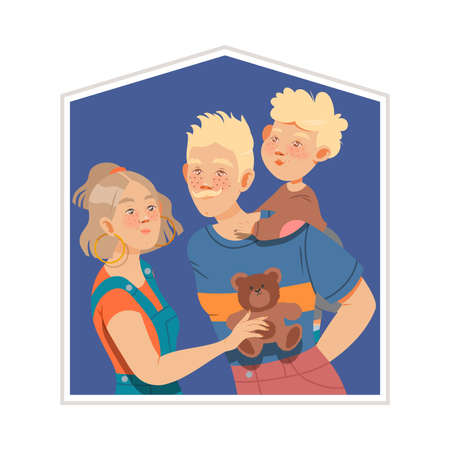 Happy Family with Mother, Father and Little Son Vector Illustration