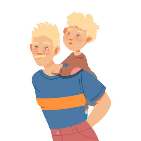 Blond Moustached Father Carrying Little Son on His Back Vector Illustration