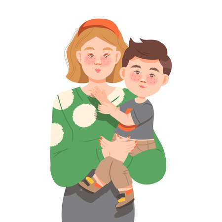 Freckled Mother Holding Little Son with Arms Vector Illustration Vector Illustration