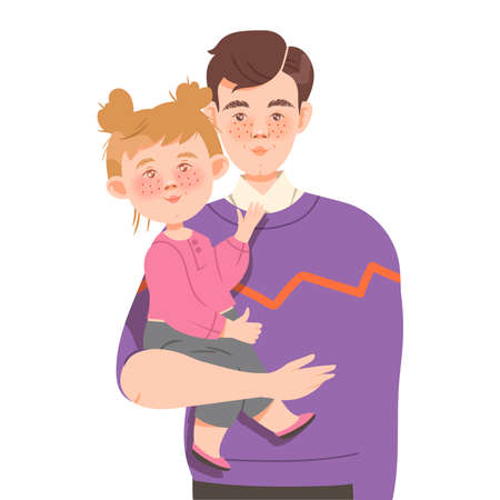 Freckled Father Holding Little Daughter with Arms Vector Illustration