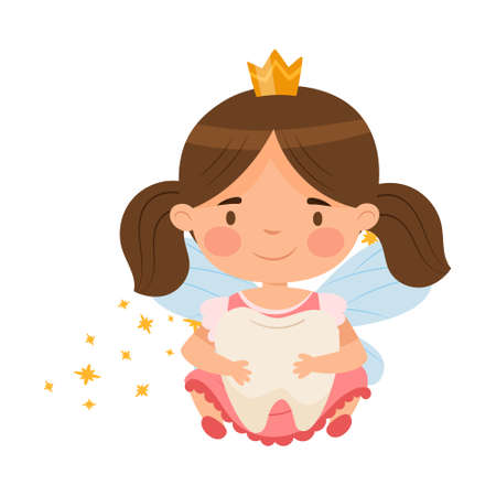 Little Tooth Fairy with Milk Baby Tooth and Crown Vector Illustration