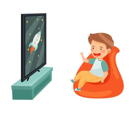 Little Boy Sitting in Armchair Watching Cartoon Film on TV Vector Illustration