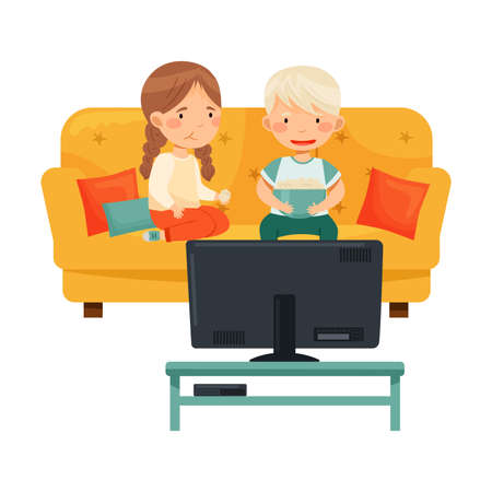 Little Boy and Girl Sitting on Sofa with Popcorn Watching Cartoon Film on TV Vector Illustration