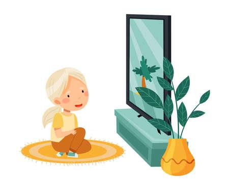 Little Girl Sitting on the Floor Watching Cartoon Film on TV Vector Illustration