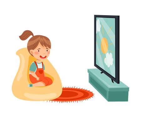 Little Girl Sitting in Armchair Watching Cartoon Film on TV Vector Illustration 向量圖像