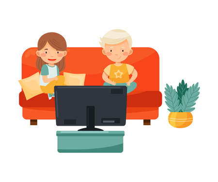 Little Boy and Girl Sitting on Sofa Watching Cartoon Film on TV Vector Illustration