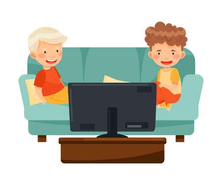 Little Boys Sitting on Sofa Watching Cartoon Film on TV Vector Illustration