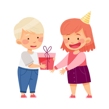 Little Boy Giving Gift Box to Girl Vector Illustration