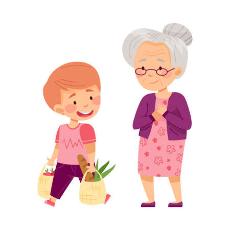 Polite Boy Carrying Shopping Bag Helping Senior Woman Vector Illustration