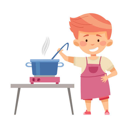 Little Boy Character in Apron Standing at Kitchen and Cooking Soup Vector Illustration