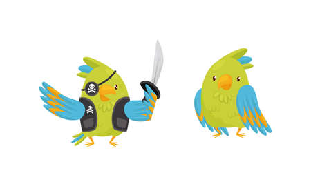 Cute Green Parrot Standing in Pirate Costume Vector Set