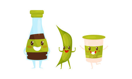 Cute Humanized Soy Food with Sauce in Bottle and Pod Smiling and Waving Hands Vector Set