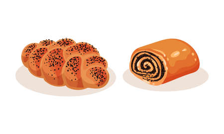 Bread and Sweet Wheat Pastry or Confectionery Vector Set 向量圖像