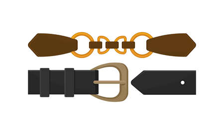 Leather Belt with Buckle or Clasp as Band or Strap Worn Around the Waist Vector Set