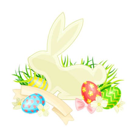 Easter Bunny with Paschal Eggs Rested in Green Grass with Spring Flowers and Ribbon Vector Arrangement