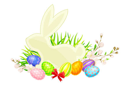 Easter Bunny Silhouette with Paschal Eggs Rested in Green Grass with Spring Flowers and Bow Vector Arrangement