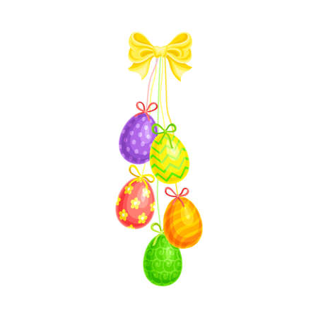 Painted or Foiled Easter Eggs or Paschal Eggs Hanging on String with Bow Vector Illustration Иллюстрация