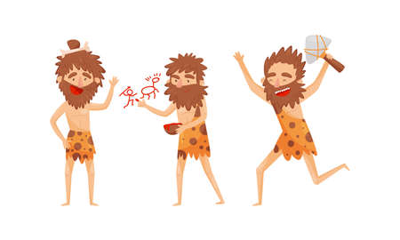 Hairy Bearded Stone Age Man Character Waving Hand, Running with Hammer and Engaged in Cave Drawing Vector Illustration Set